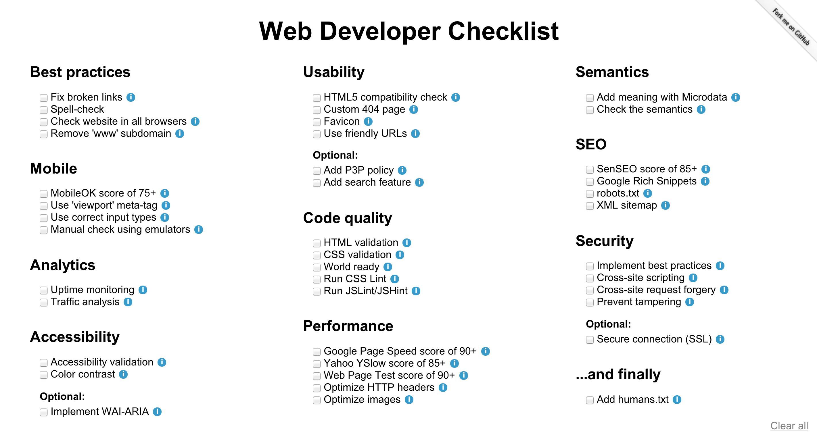 webdevchecklist